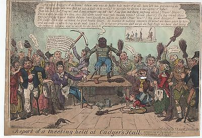 Large Colour Satirical Print - Cadger's Hall Meeting Black Man Holds Court 1820s