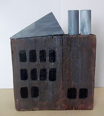 Handmade Wooden Model Brown Factory With Two Chimneys Folk Art Ornament