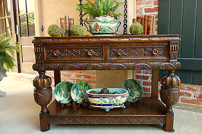Antique English Carved Tiger Oak Hall TABLE Sideboard Buffet Jacobean Sofa Table