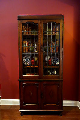 Antique English Carved Oak Leaded Glass Bookcase Display Cabinet  Jacobean TALL