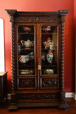 LARGE Antique French Carved Oak Barley Twist Glass Cabinet Bookcase Renaissance
