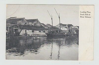 Straits Settlements Old Postcard Singapore South Side Landing Place Malacca !!
