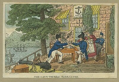 Colour Engraving Of The Naval Tavern Gibraltar By Williams