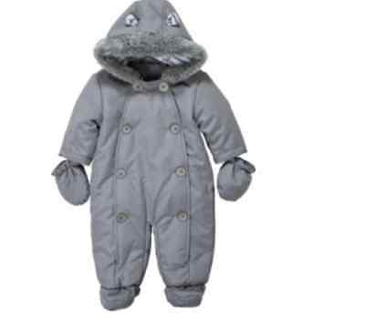 Baby Girls Boys Luxury Babywear Hooded Fleece Snowsuit Pramsuit Coat Mittens NEW