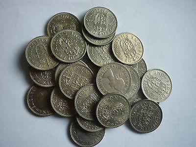 ELIZABETH II - 25 x CIRCULATED COLLECTABLE ENGLISH & SCOTTISH ONE SHILLING COINS