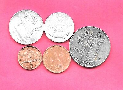 Italy Italian  5 Diff Different 1953-2010 Coin Lot Collection Set Old-Euro