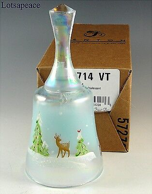 Fenton French Opal BELL Wintry Whispering Woods  In Box Christmas 2010