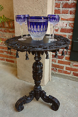 Antique French Carved Black Forest Round End Table Wine Ebonized Renaissance