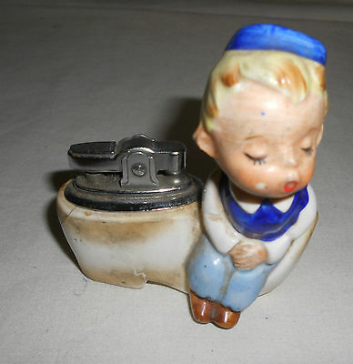 STUNNING Rare VINTAGE Traditional Boy sat on Dutch Clog TABLE LIGHTER 9cm x 9cm