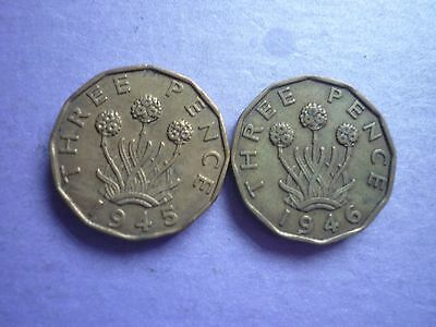GOOD COLLECTABLE 1945 & SCARCE 1946 GEORGE VI BRASS 3d COINS