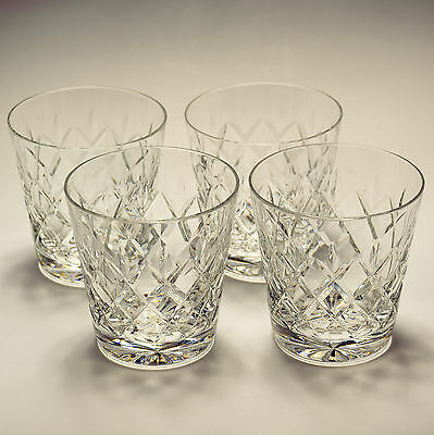 Webb Corbett Clifton - 4 Four 10 fl oz Whisky Glasses - Firsts Signed 1965
