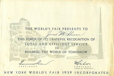 """RARE 1939 NYWF """"Building The World of Tomorrow"""" Recognition Certificate"""