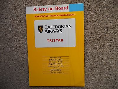 Caledonian Airways Tristar Airline Safety Card