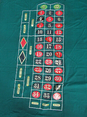 Vintage Roulette Table Felt Layout Cloth with Numbers Hand Painted