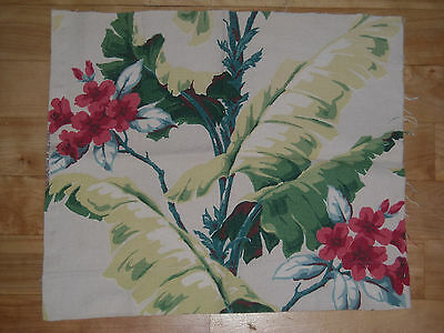 Vintage Barkcloth Remnant Lovely Fronds and Foliage fabric