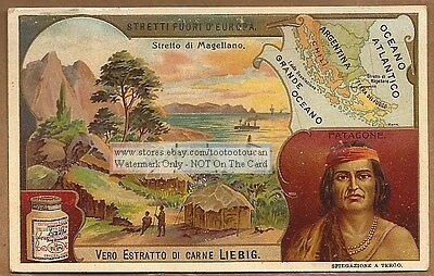 Strait Of Magellan South America Map NICE c1905 Ad Trade Card