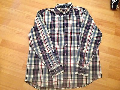 Mens Large Maine Blue Checked Long Sleeve Shirt