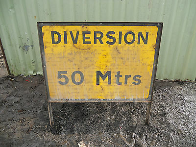 METAL Free STANDING Traffic A-BOARD ROADSIGN Road Sign - DIVERSION 50 METRES
