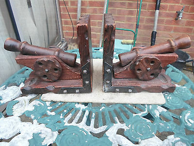 Vintage Carved Wood Cannon Bookends x 2