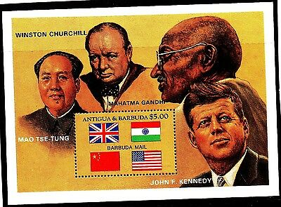 Antigua:1984:Famous People,(Churchill,Kennedy ect),M/S.MNH.