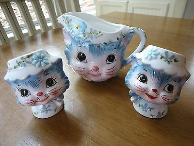 Discontinued Lefton 1950's MISS PRISS Creamer & Pair of Salt & Pepper Shakers