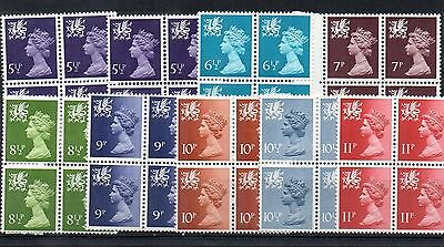 Great Britain/Wales:1971:9  Blocks of 4,5 1/2p to 11p,MNH.