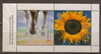 Great Britain:2000:Horse's Hooves & Sunflower.Pane.MNH
