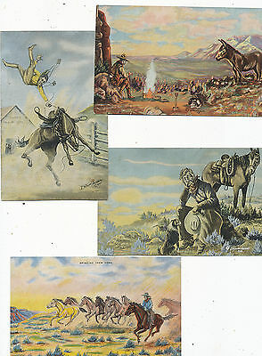 #209   Lot Of  7 Diff Postcards Of Cowboys  Rodeo Artist Signed  Dude Larsen