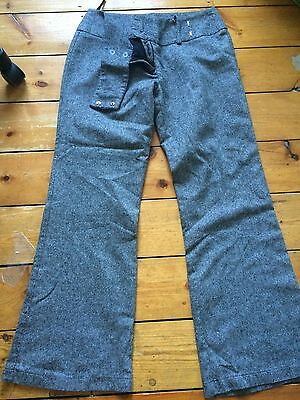 New Look Ladies Trousers Size 14 Grey Tweed Effect Wool Mix
