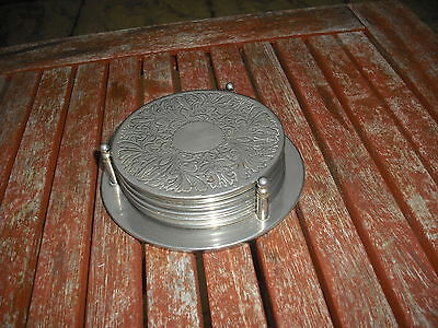 Set of 6 silver plated Coasters on a Stand