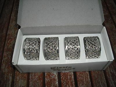 Boxed Set of 4 Silver Plated Filigree Napkin Rings