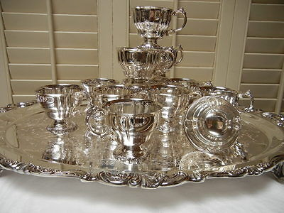 Wallace Baroque Silverplate 12~ a full DOZEN footed fluted Punch Cups  MINT USA!