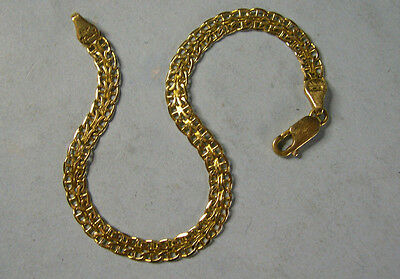 """14K 7"""" Lacy Yellow Gold Chain Bracelet, Signed by Maker, 4.2 gms,"""