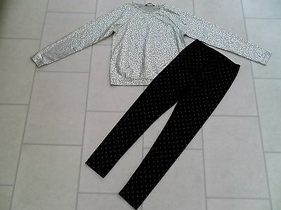 Girls George Velvet Leggings & New Silver Top Party Outfit Age 12/13 Years