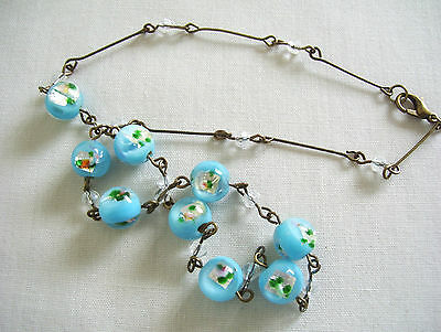 BEAUTIFUL Czech CASED FOILED GLASS BEAD WIRED 1930s STYLE NECKLACE