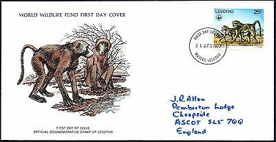 FDC - Lesotho - 1977 World Wildlife Fund, The Baboon - First Day Cover