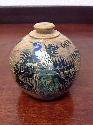 Beautiful Vintage Soapstone Peacock Decorated Indian Lidded Pot