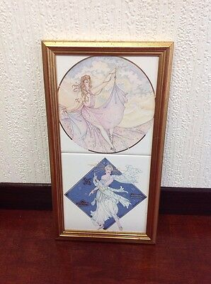 Vintage 1920S Style Framed Two Tile Picture