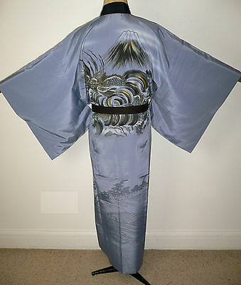 RARE MEN'S AUTHENTICJAPANESE SILK VINTAGE JUBAN KIMONO Ceramics Scenery & Dragon