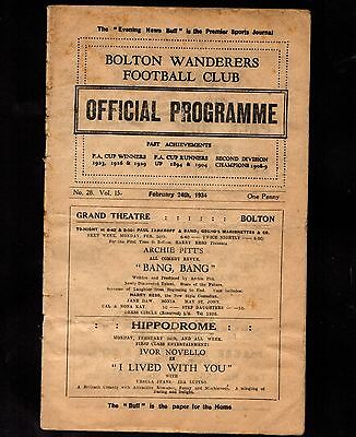 1933-1934 Bolton Wanderers v Preston North End   POST FREE