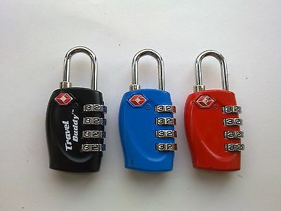 3 x 4 DIAL TSA APPROVED COMBINATION LUGGAGE LOCKS (BLACK, BLUE, RED)