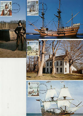 Isle of Man Set of 4 1986 Miles Standish / Mayflower maxi cards