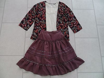Girls Lace Top, Sequined Cord Skirt & Jacket Outfit (TU & F&F) Age 10 Years VGC