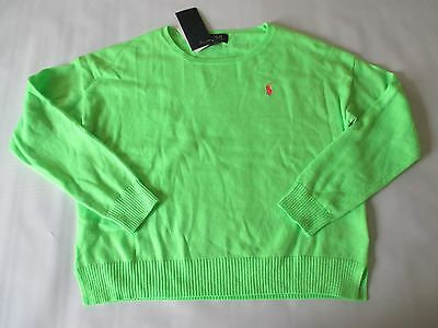 NWT 7 RALPH LAUREN neon green-pink pony soft cotton knit cropped/slouchy sweater