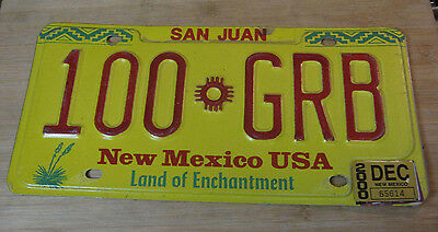 2002 New Mexico San Juan License Plate Expired 100 Grb