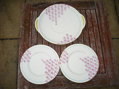 Art Deco Royal Doulton Shower Pattern  Cake Plate and 2 side Plates