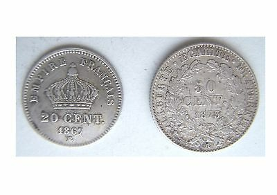 France 20 Centimes 1867 'bb' & 50 Centimes 1873 'a'
