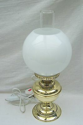 Brass Electric Converted Oil Lamp With White Glass Shade