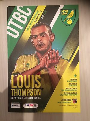 NORWICH CITY v BRENTFORD 2016-17 OFFICIAL PROGRAMME