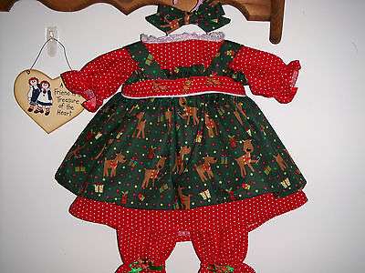 "3 P. Christmas Clothes For 20""  Raggedy Ann Doll Made By Eva"